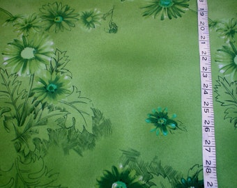 """70s 60"""" x 1.3 yds Polyester Knit Avocado Olive Green Floral Vintage Fabric Daisy Dandelion"""