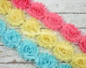 Multi Color Shabby Chic Chiffon Flowers - Wholesale Lot Frayed Vintage Rosettes  - Flowers by the Yard - Aqua Yellow and Salmon