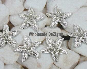 Starfish Crystal Rhinestones - Metal Base - 23 mm Star Fish Shaped Embellishments 23mm