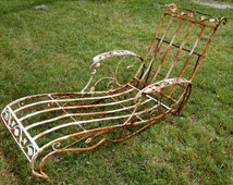 Popular items for wrought iron chaise on etsy for Cast iron chaise lounge