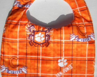 Hand Crafted Clemson University Tigers Baby Bib