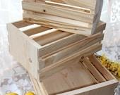 Nesting Set of Three Handmade Rectangle Wooden Crates, Unfinished