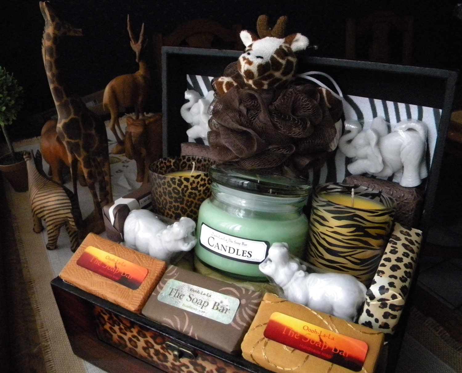 Safari Gift Basket Soap And Candles Zoo African Theme Gift