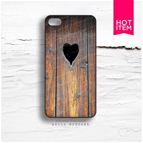 iPhone 6 Case, iPhone 5C Case Wood Print, TOUGH iPhone 5s Case Heart, iPhone 4s Case, Rustic iPhone Case, Wood Texture iPhone Cover T34