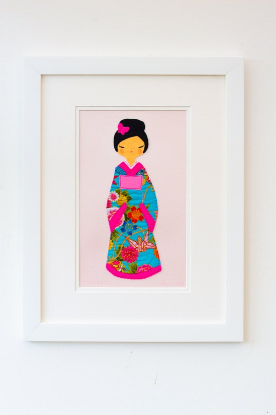 Girls Bedroom Art, Girls Nursery Art, Limited Edition: Pink Kokeshi Doll Picture, Nursery Art, Nursery Decor, Girls Christening Gift
