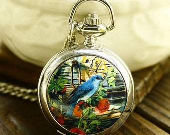 1pcs Bird with flower  pocket watch charms pendant    25mmx25mm