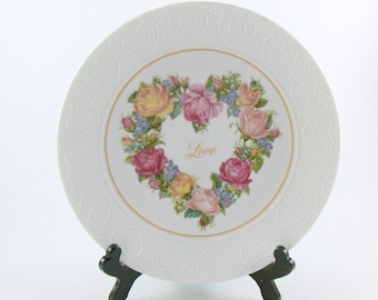 Vintage Collectible Plate Porcelain Avon Love Art Decor Plate Home Decoration Valentines Day Plate Wedding Decor Bedroom Decor Wall Decor