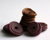 Polymer clay roundabout beads, layered discs, purple and gold set of 8