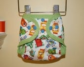 XS/Small PUL Cloth Diaper Cover - Little Robots Print Waterproof Diaper Cover - Adjustable Newborn to Small Cover - GoneEco