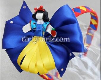 Snow White Headband, Snow White Ribbon Sculpture Hair Clip, Princess Hair Bow, Snow White Hair Clip, Princess Hair Clip, Princess Headband