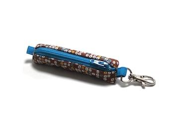 SALE - Chap Stick Case, Lip balm, Earbuds, Flashdrive Holder - Mini Circles on Brown