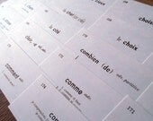 25 Vintage French Language Vocabulary Flash Cards For Altered Art Mixed Media Collage Ephemera