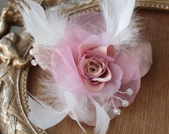 Pink color organza     flower  clip with white feather