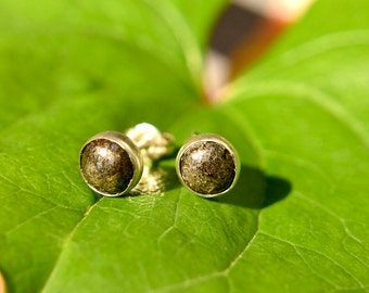 Sterling Silver and Pyrite Earrings, 6mm Stud Pyrite Cabochon Earrings