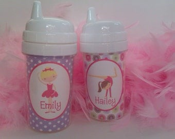 Personalized kids sippy cups ballet sippy cup - gymnastics cups - ballet kids cups gymastics sippy cup kids personalized cups