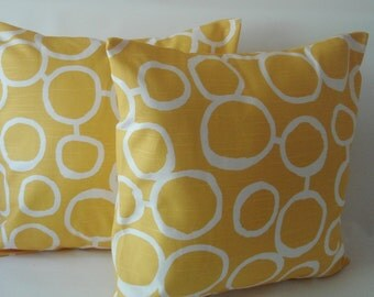 """2 - Yellow 20 X 20 Throw Pillows  Pillow Covers   Fabric front & back """" Freehand  by Premier Prints""""  Accent Pillow  Decorative"""
