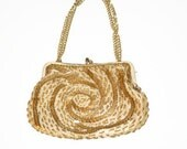 SALE-Vintage Gold Clutch, Gold Beaded Evening Bag, Hand Made in Hong Kong by La Regale