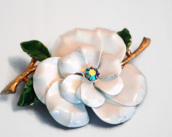 Vintage White Flower Brooch, Designer Signed-Art, Costume Jewelry