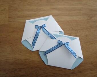 Handmade Baby Shower Invitation - Diaper Shape w/ Its a Boy Ribbon