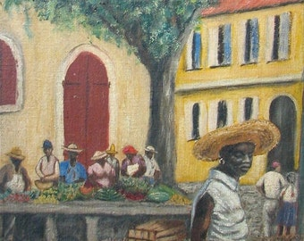 St. Thomas, The Market. Oil on canvas board. c.1965