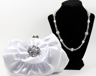 Bridal Clutch and Necklace - White Satin Clutch with Gorgeous Swarovski Crystal & Genuine Pearl Handle That Can Also Be Worn As A Necklace