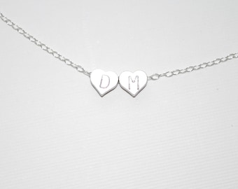 Kissing hearts necklace, two initial hearts necklace, silver initial hearts, wedding jewelry, Valentines, gift