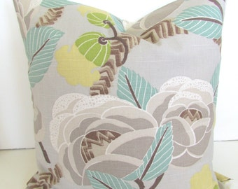 Sale THROW PILLOW Cover 16x16 Aqua MINT Decorative Throw Pillows Grey 16 x 16 Tan Taupe gray pillows Floral Home and Living