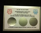 Owl Gender Reveal Baby Shower Game Scratch off