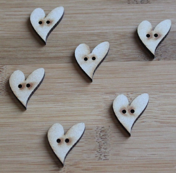 6 Craft Wood Love Heart buttons, Small, 2.2 cm Wide, Laser Cut
