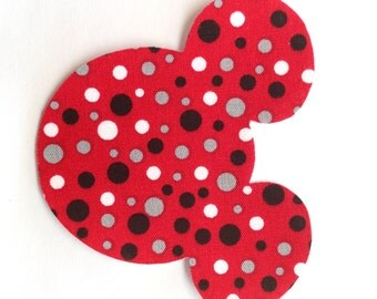 Iron-On Mouse Ears - Red with Polka Dots