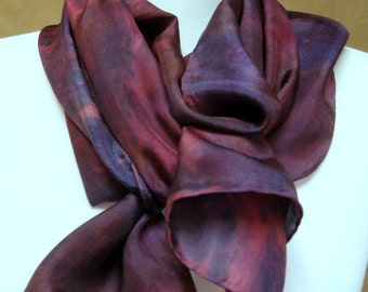 Silk scarf purple, blue, pink , silk accessory, hand painted, handmade in the USA, unique gift,