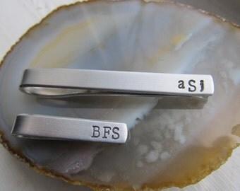 Personalized Tie Clip - SKINNY Tie Bar - Wedding - Handstamped Tie Bar - Wedding - Groomsmen Gifts - Groom -