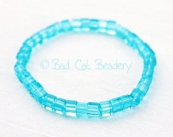 Spring Aqua Blue Glass Bead Stretch Bead Bracelet