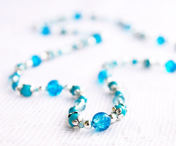 Stretch Bead Wrap Bracelet or Necklace in Blue Turquoise Glass Stone, Blue Crackle Glass, Aqua Blue Crystal, Tibetan Silver Beads