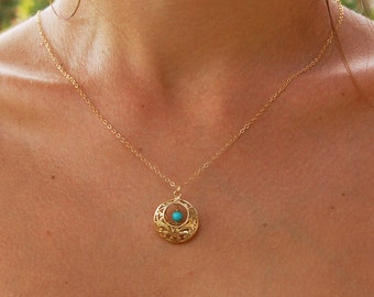 Gold filigree pendant, turquoise necklace, gold necklace, gold jewelry,  lace necklace, bridal necklace, bridal necklace