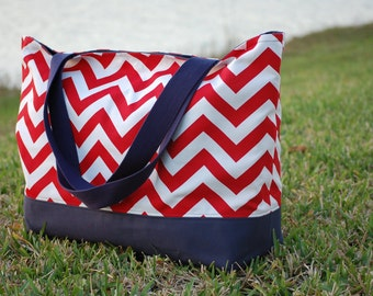 Large Red Chevron Tote Bag with Navy Blue