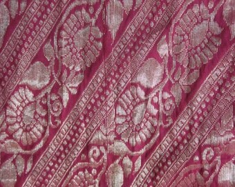 Long Rose Raw Silk and Gold Thread Vintage Sari Fabric