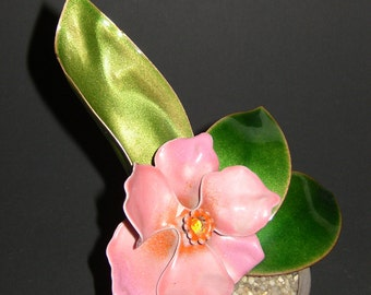 Vintage Estate Collectible Bovano of Cheshire Enamel Flower Sculpture