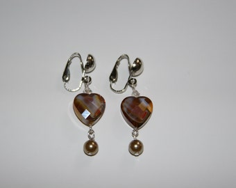 Glass Heart and pearl clip on earrings