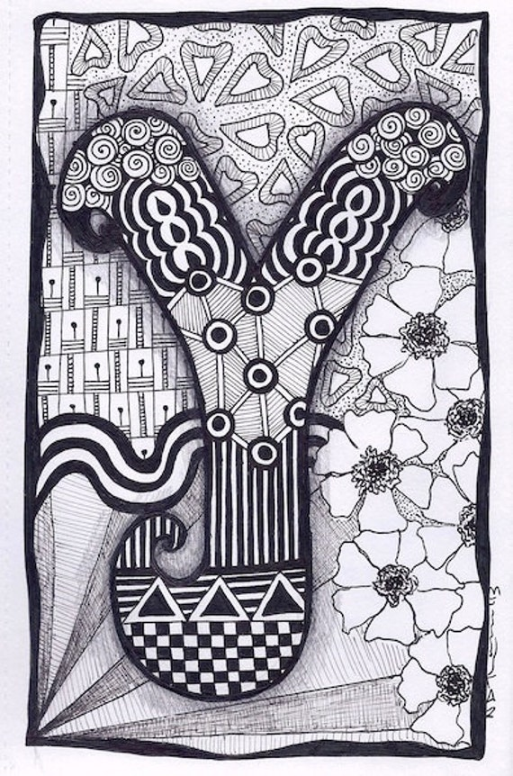 Zentangle Letter Y Zebra Letters Name Bunting By