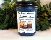 Scented Soy Blend Candle 8 oz jar candle - Blueberry Muffin