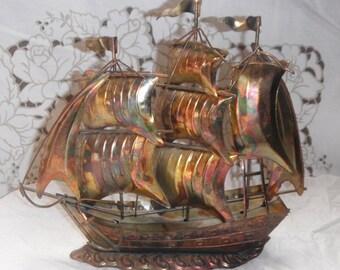 Vintage Nautical decor Sailing Clipper Ship Boat wooden tall pirate ship Tin brass