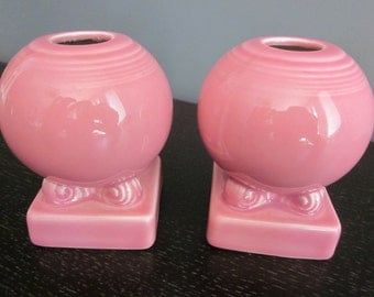 FIESTA WARE pink candle holders Homer Laughlin