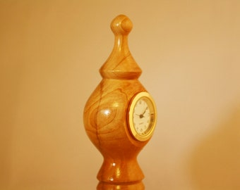 Petite Desk Clock Hand Turned in Maple Wood