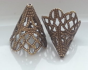 2 Pieces Vintage Inspired Brass Cones 19mmx18mm Made in the USA