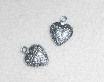 Silver Double Hearts in a Heart Charms