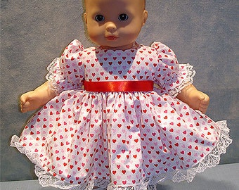 15 Inch Doll Clothes - Red and Pink Glittery Hearts Dress made to fit 15 inch baby dolls