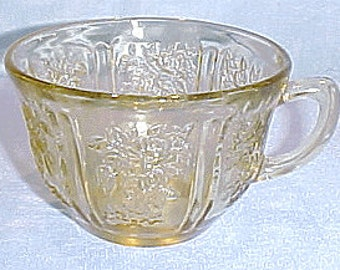 Sharon (Cabbage Rose) Amber Depression Glass Cup