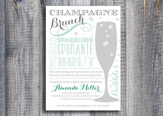 Items similar to printed champagne brunch bridal shower for Champagne brunch bridal shower