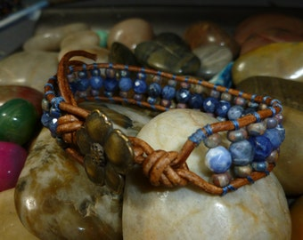 Sodalite Single Wrap with Opaque  Picasso Mix Beads